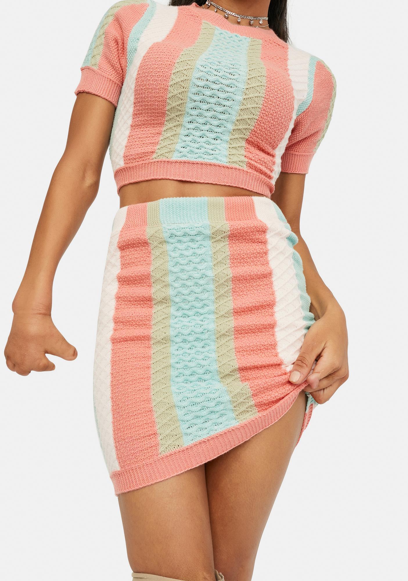 Classy Seeker Vertical Stripe Sweater Skirt
