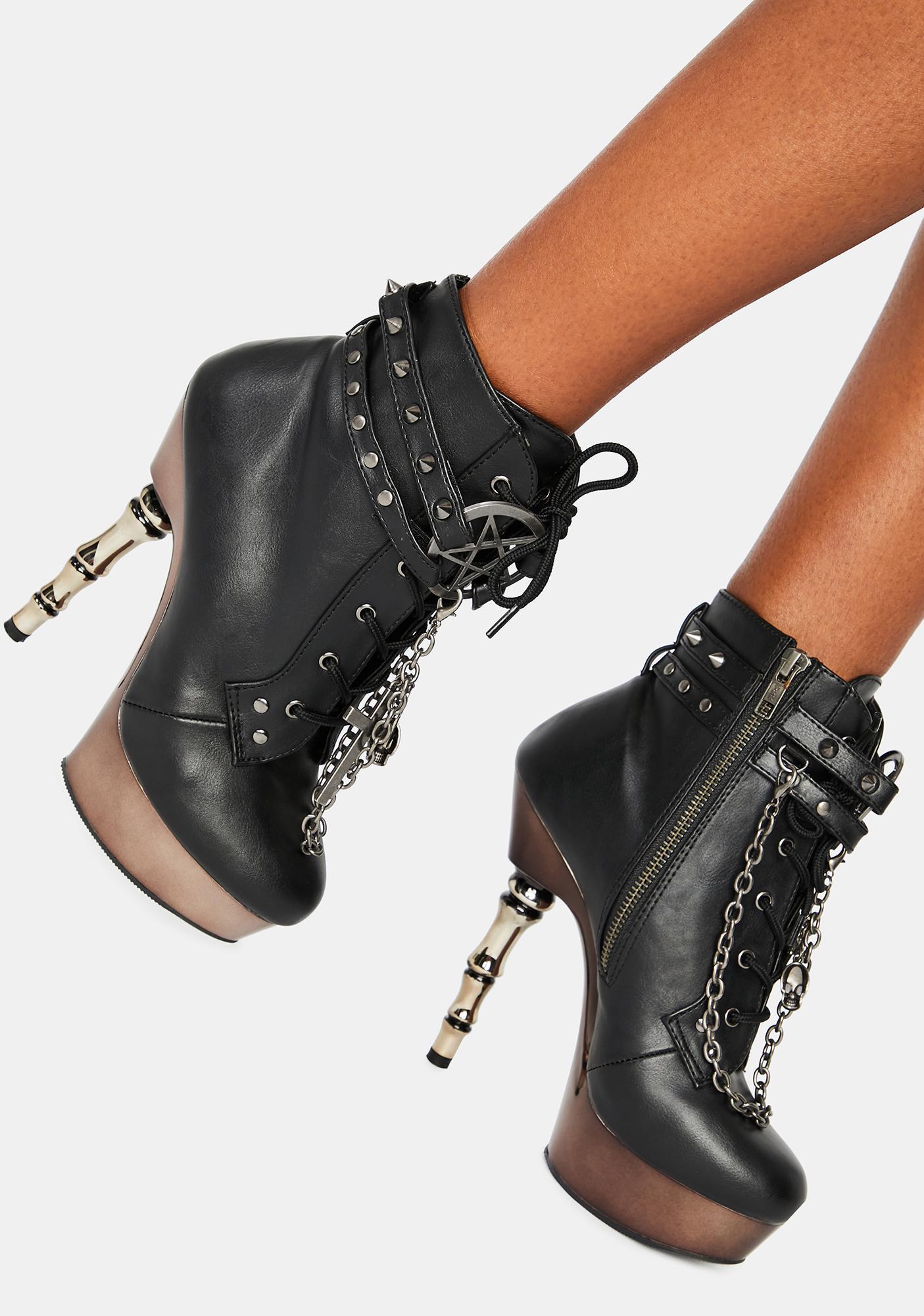 Gothic,Goth Demonia Muerto-1030 Black Vegan Leather Platform Heel Boots