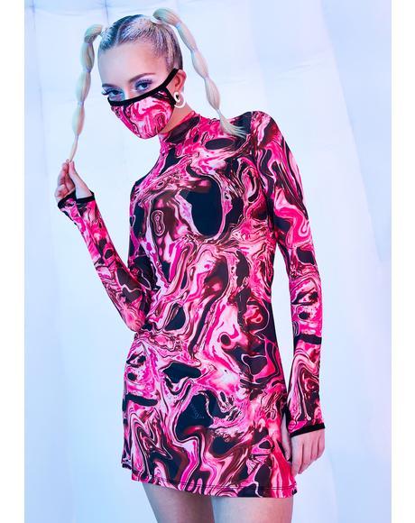 Lady Acid Dimension Mesh Dress