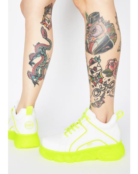White Neon Yellow Corin Platform Sneakers