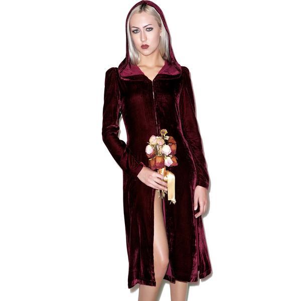 Widow Spectre Oxblood Velvet Hooded Jacket