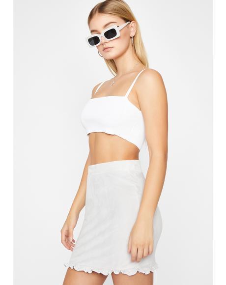 Dove Frilly Femme Velvet Skirt