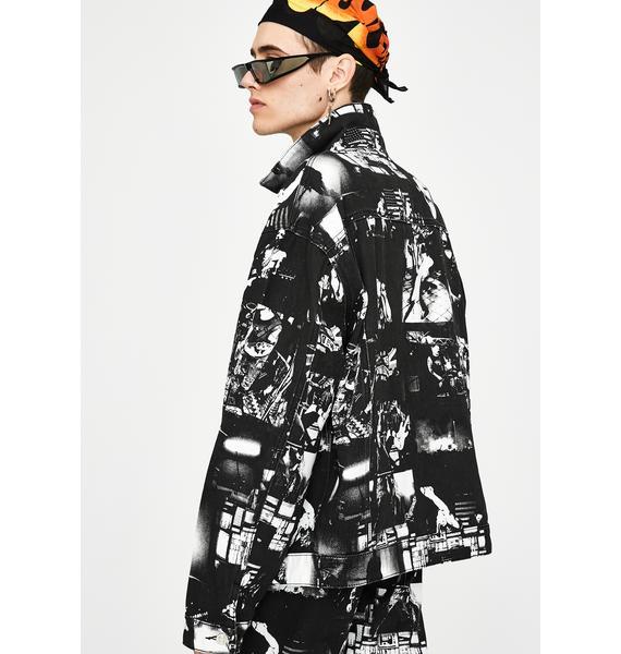 Jaded London Punk Rock Photograph Print Denim Jacket