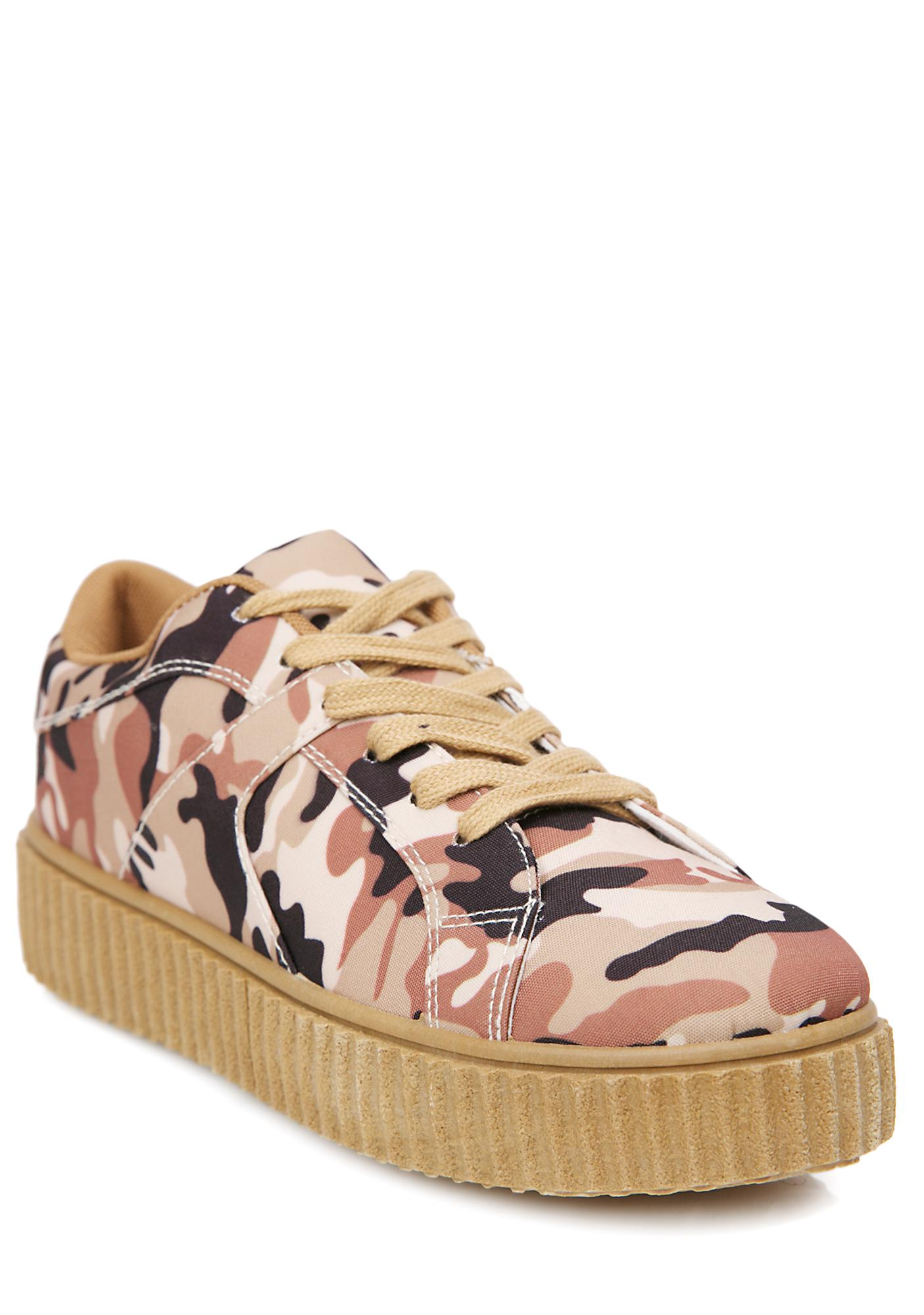Sand Camo Caught Me Creeper Sneakers
