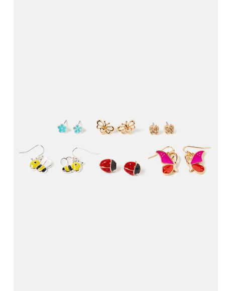 Got U Bugged Charm Earring Set