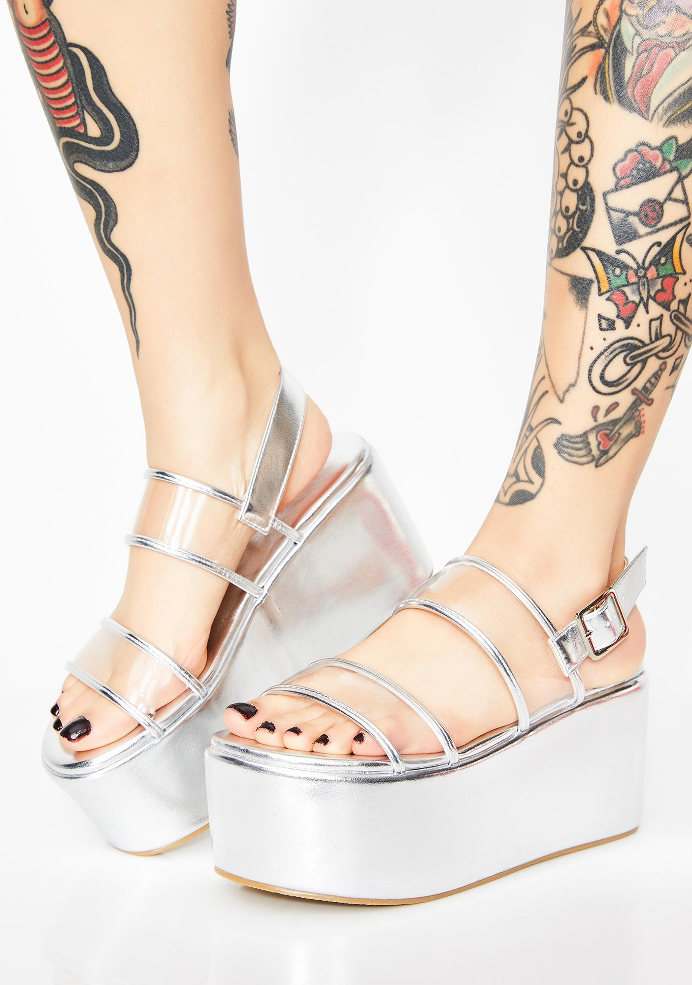 Chrome Step Aside Platform Sandals