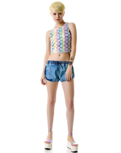 Daisy Rainbow Crop Top