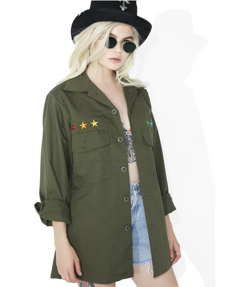 Reworked Rainbow Star Military Jacket
