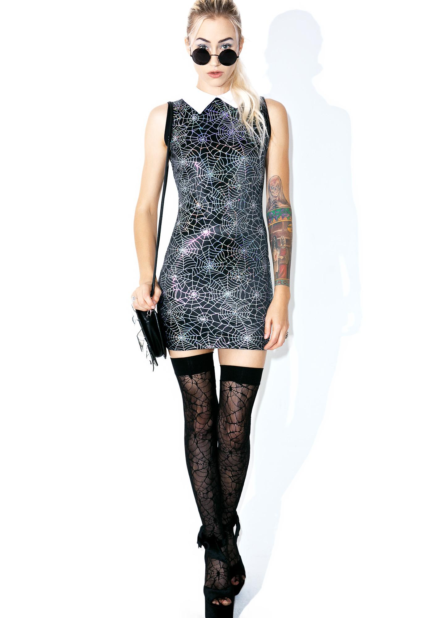 19bf38c338e ... Vera s Eyecandy Hologram Spiderweb Dress