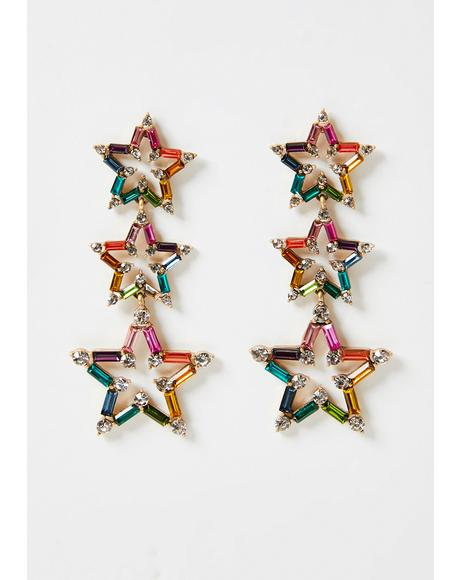 Crystallized Fate Star Drop Earrings