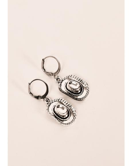 Silver Cowboy Hat Earrings