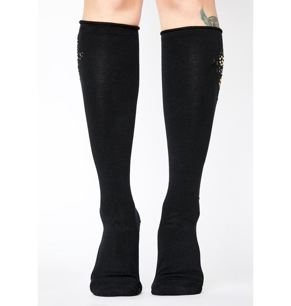 MeMoi Pearl Bedazzled Over The Knee Socks