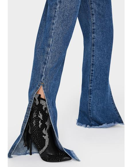 Mid Blue Wide Leg Split Hem Jeans