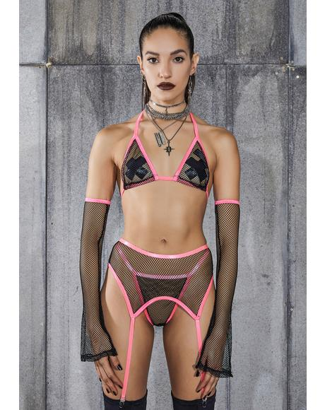 Snare Pink Piping Fishnet 4-Piece Garter Set