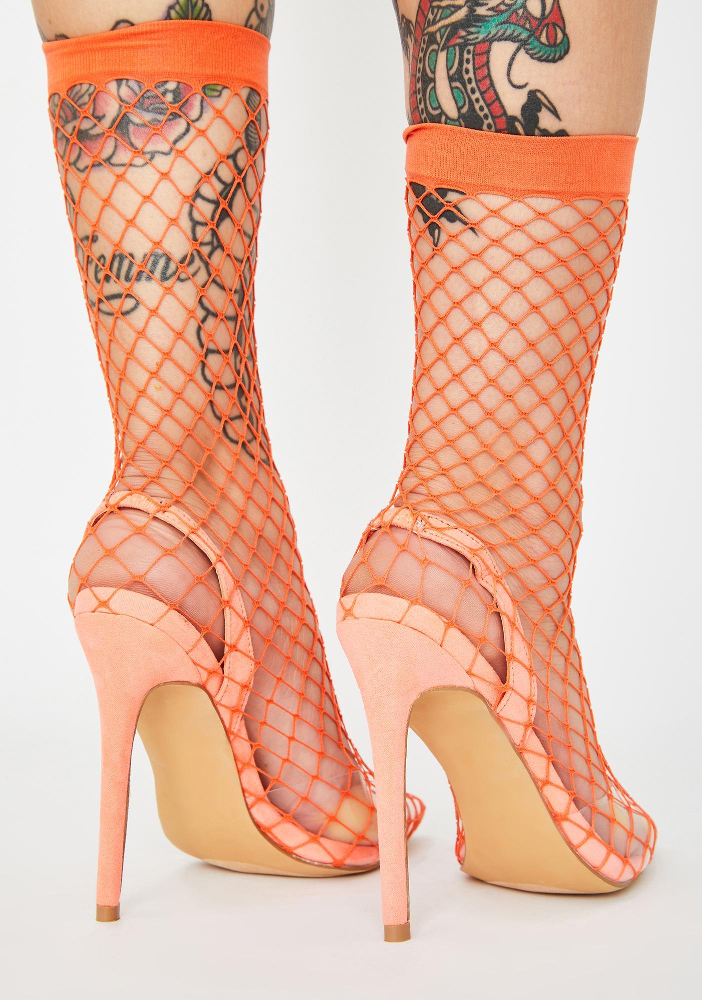 Amber The Hott Friend Fishnet Heels