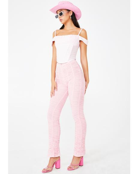 Pink Ophelia Ruched Pants