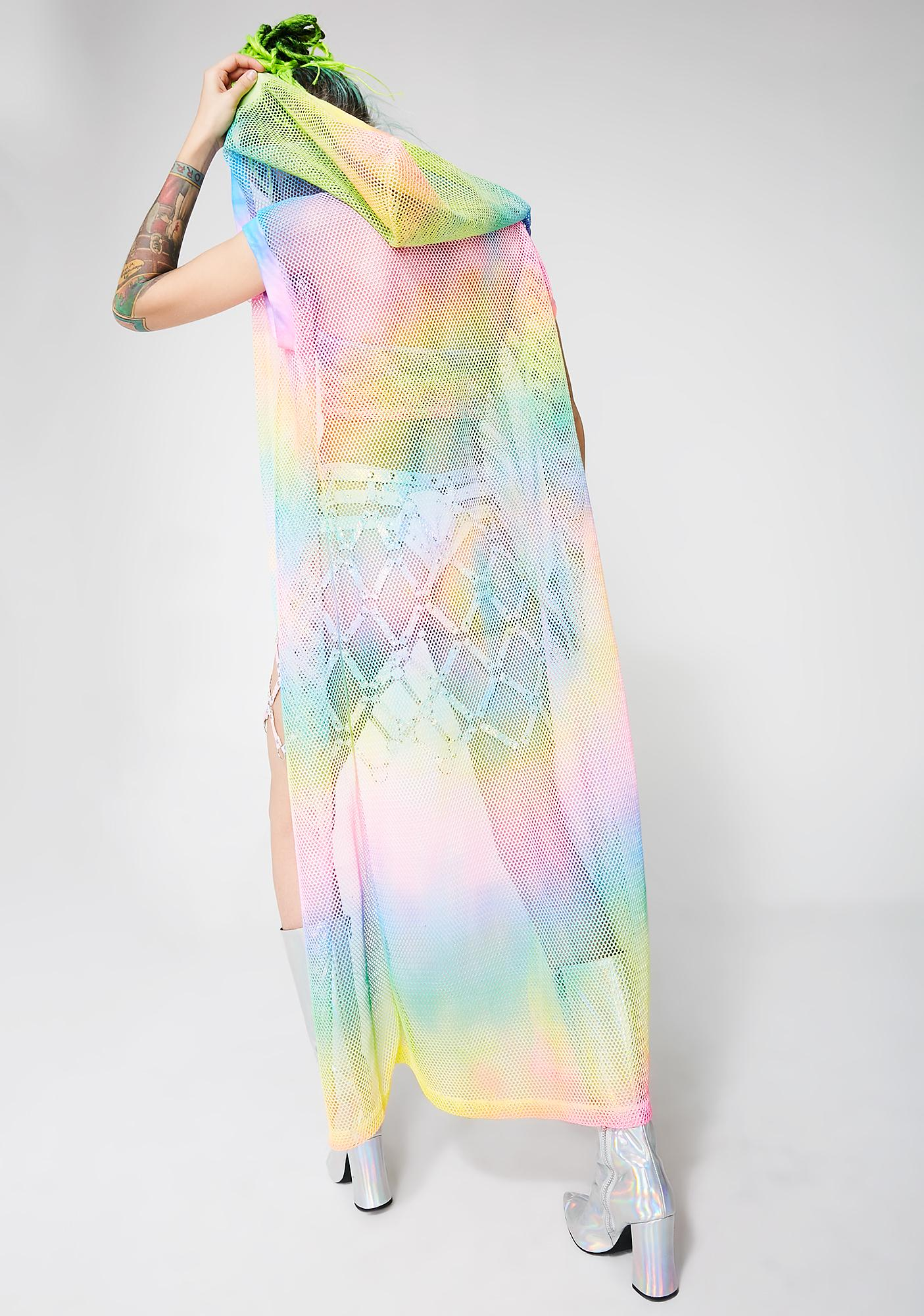 Happy Unbirthday Sheer Tie-Dye Duster