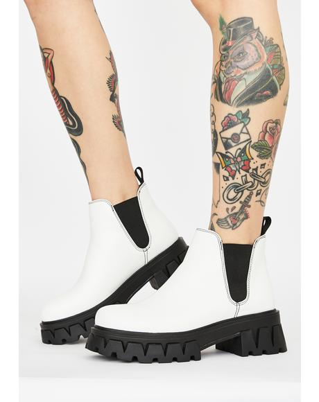 White Raptor Chelsea Boots