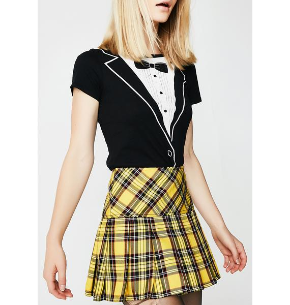 Tripp NYC Pleated Yellow Plaid Skirt