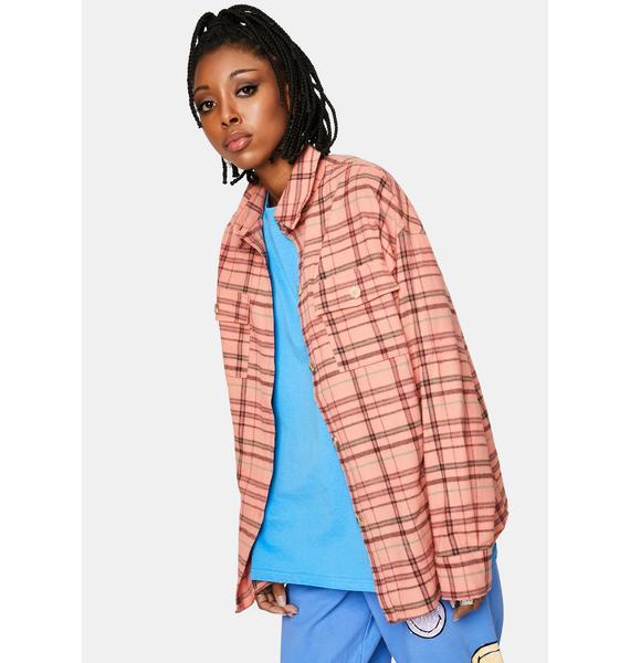 Bailey Rose Peach Flannel Jacket
