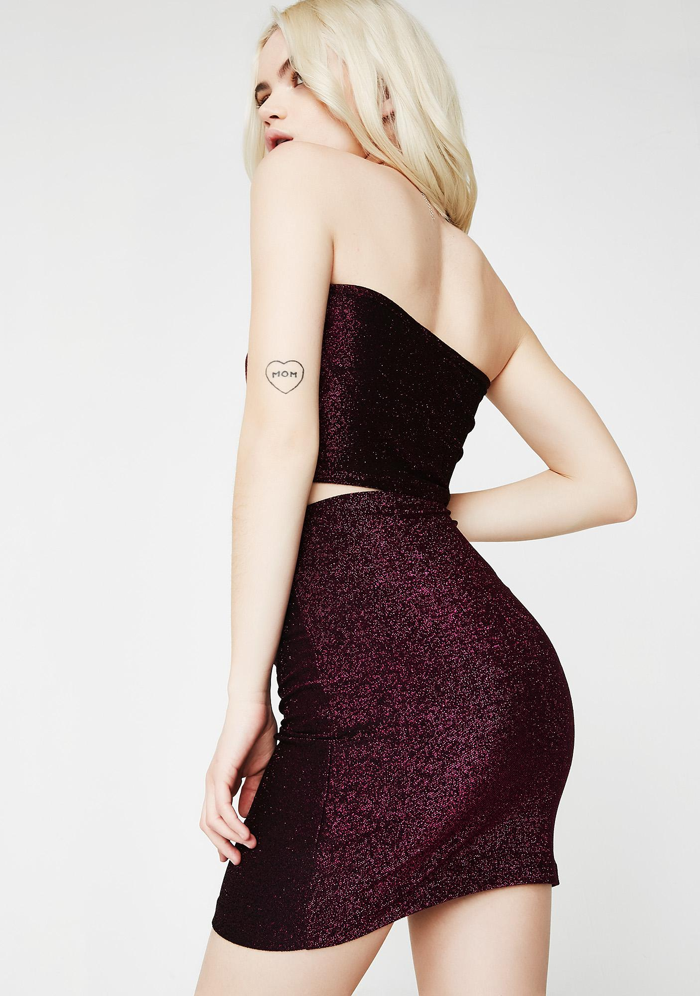 Motel Wine Lurex Kimmy Skirt