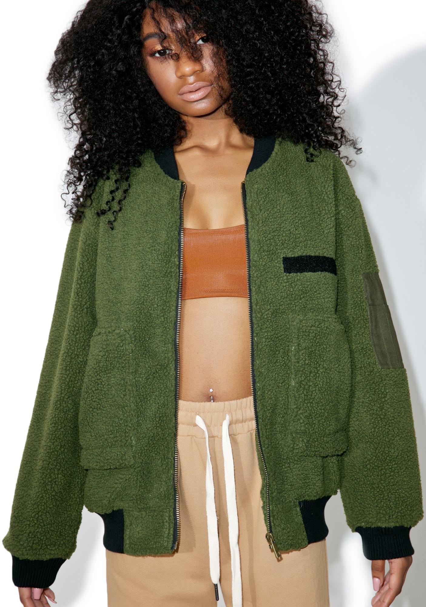 J.O.A Fuzzy Army Jacket