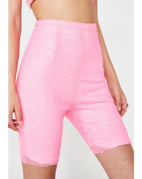 Pacific Palisades Glitter Cycling Shorts