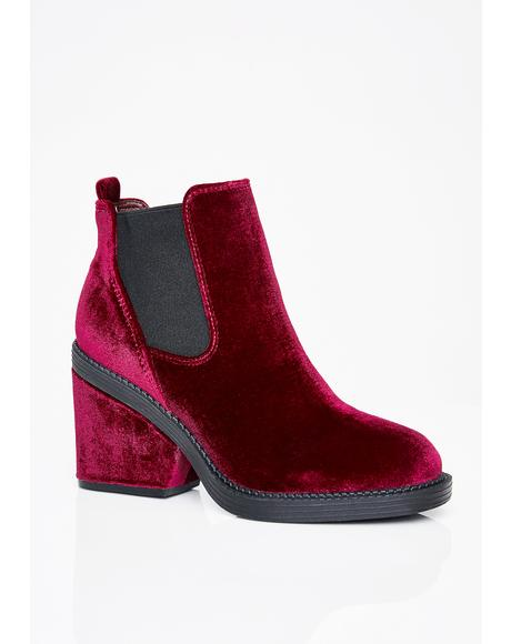 Wine Mystic Vixen Velvet Boots