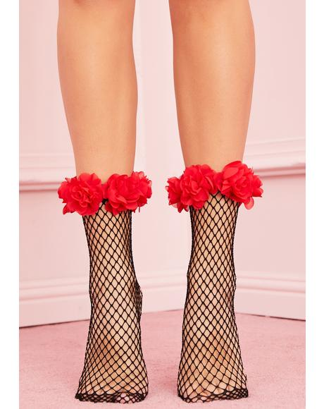 Crimson Crush Fishnet Socks