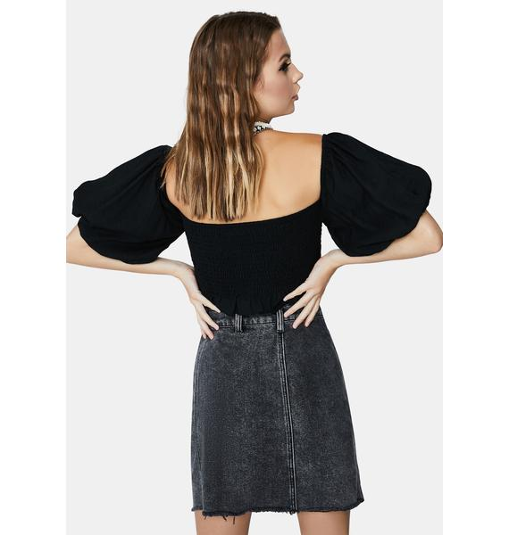 Glamorous Black Puff Off The Shoulder Crop Top