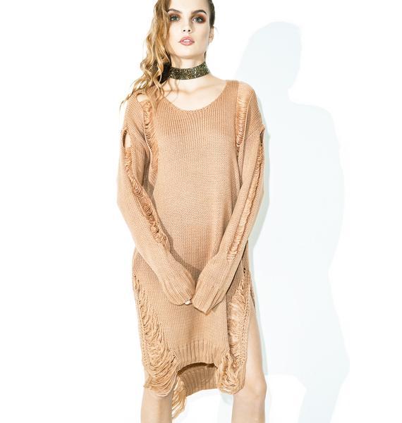 Spiced Chai Shredded Sweater