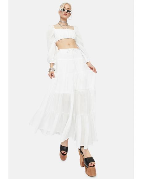 Ivory Take It Easy Smocked Maxi Skirt