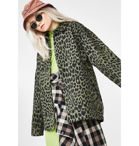 Lazy Oaf Khaki Leopard Chore Jacket