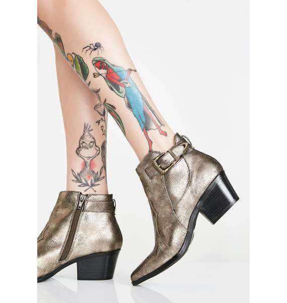 Metallic West Coast Blues Ankle Boots