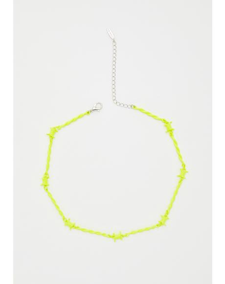 Neon Danger Barbed Wire Choker