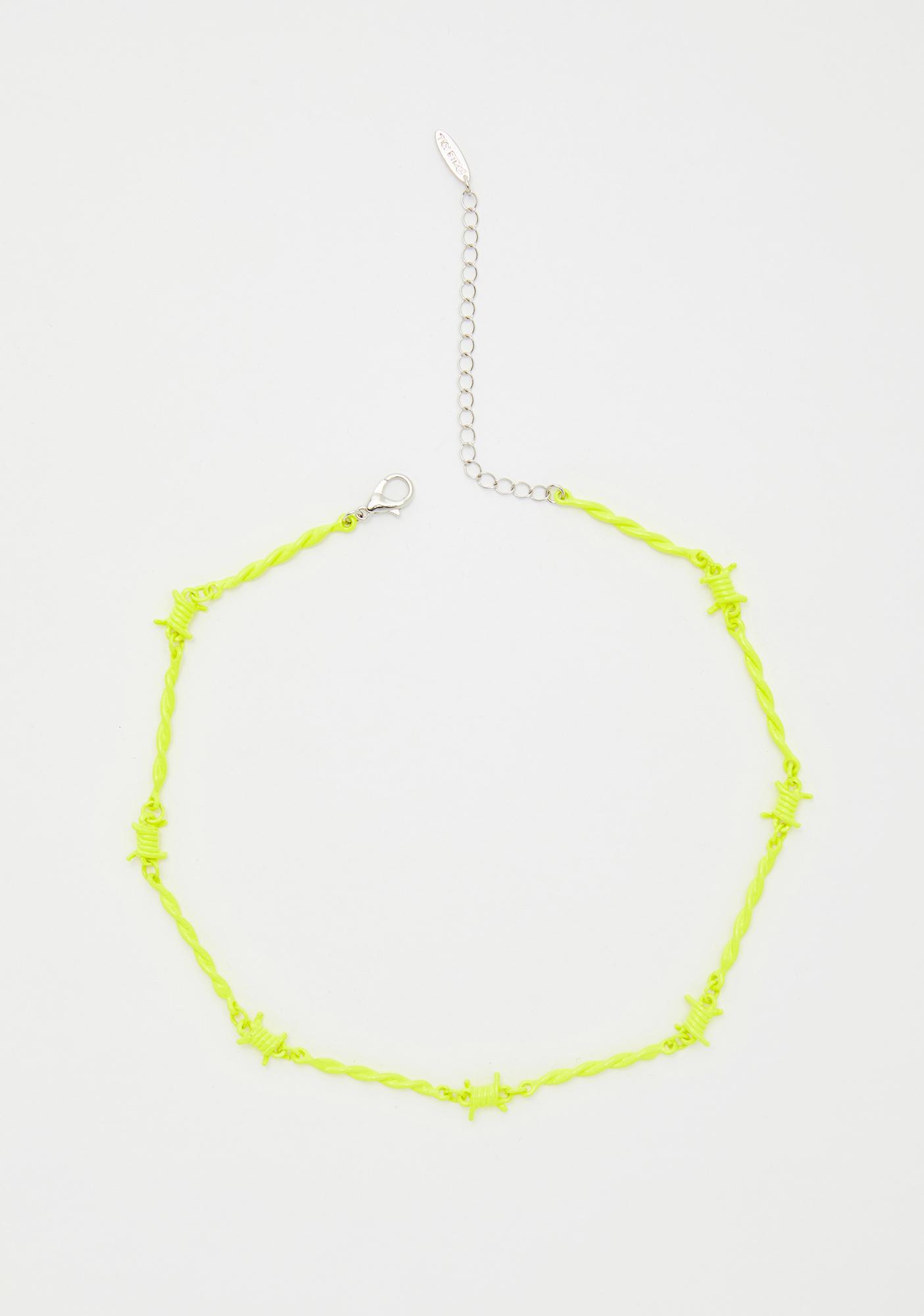 Neon Danger Barbed Wire Choker