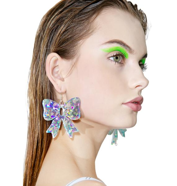 Trixy Starr Holographic Bow Earrings