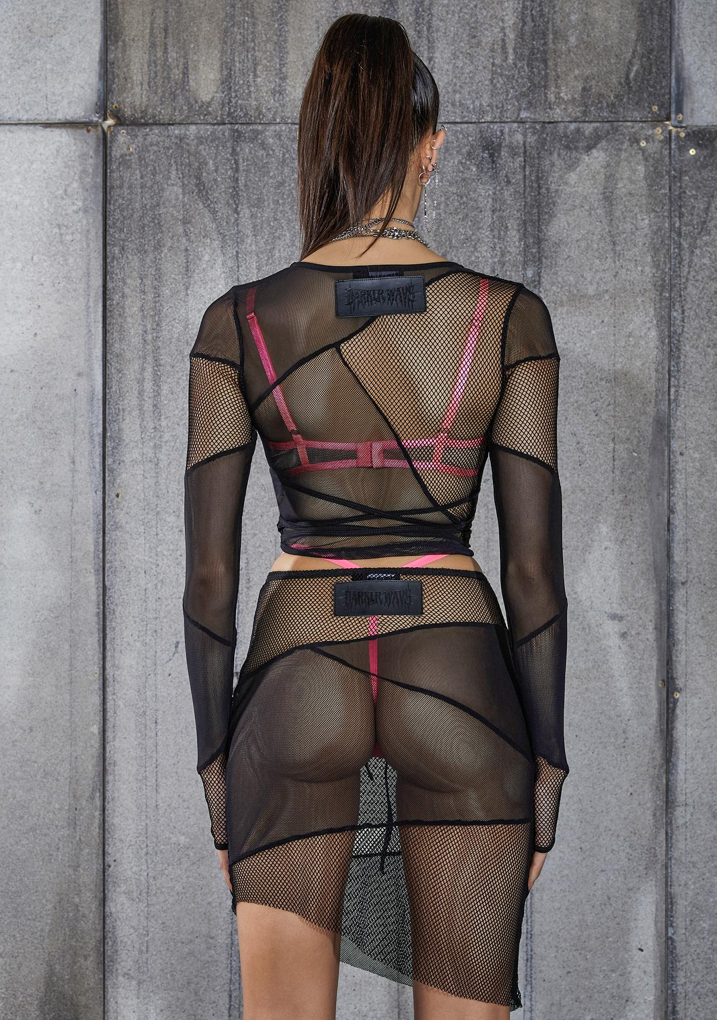 DARKER WAVS Snare Fishnet And Mesh Patchwork Wrap Top