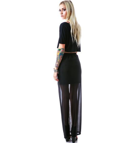 Evil Twin Splitsville Zip Split Maxi Skirt