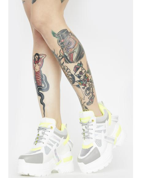 White Oval Platform Sneakers