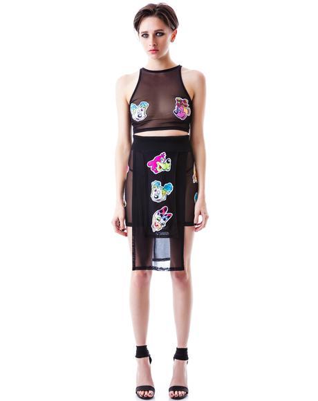 Worped on Acid Panel Mesh Skirt