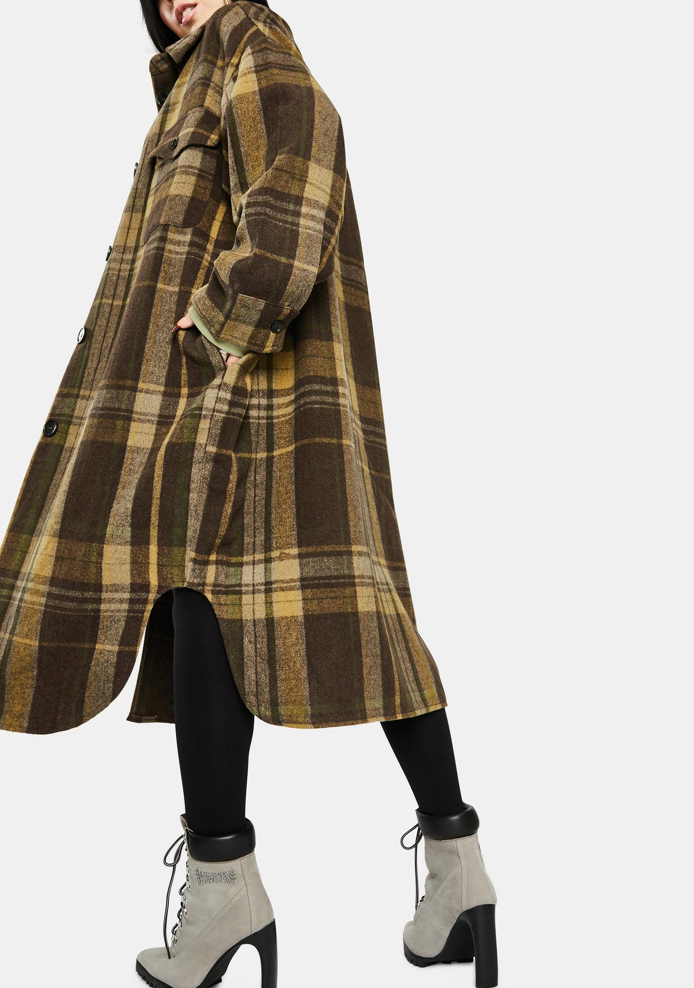 Re Named Plaid Long Jacket