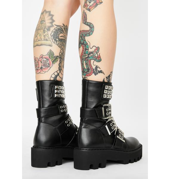 Current Mood Scornful Sneer Buckle Boots