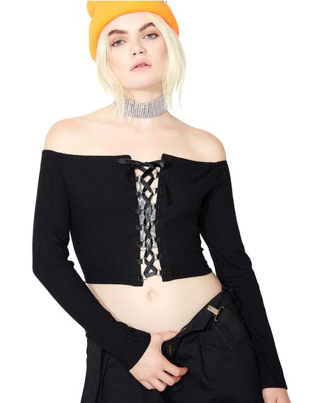 Dark Deeds Lace-Up Top