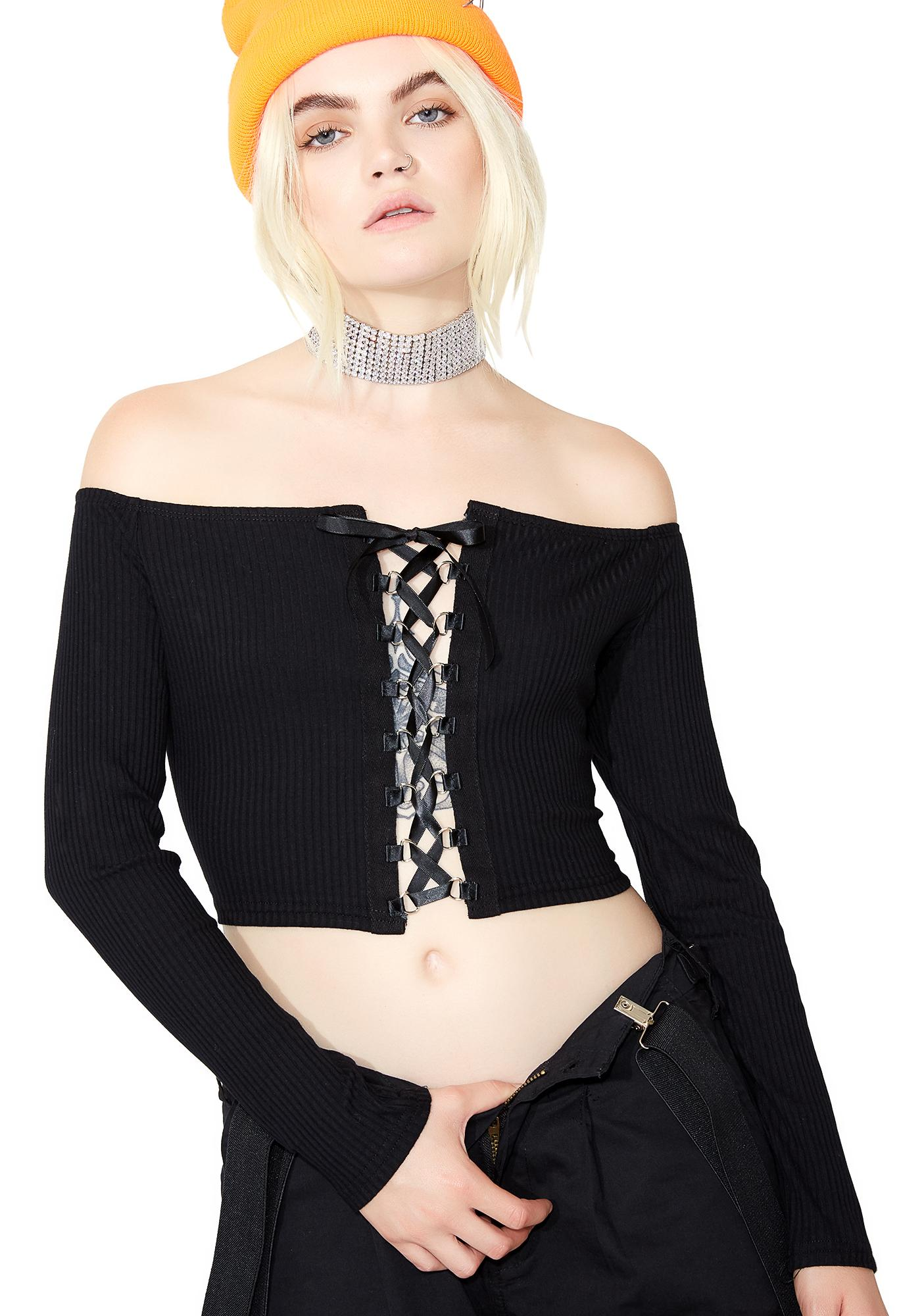 Glamorous Dark Deeds Lace-Up Top