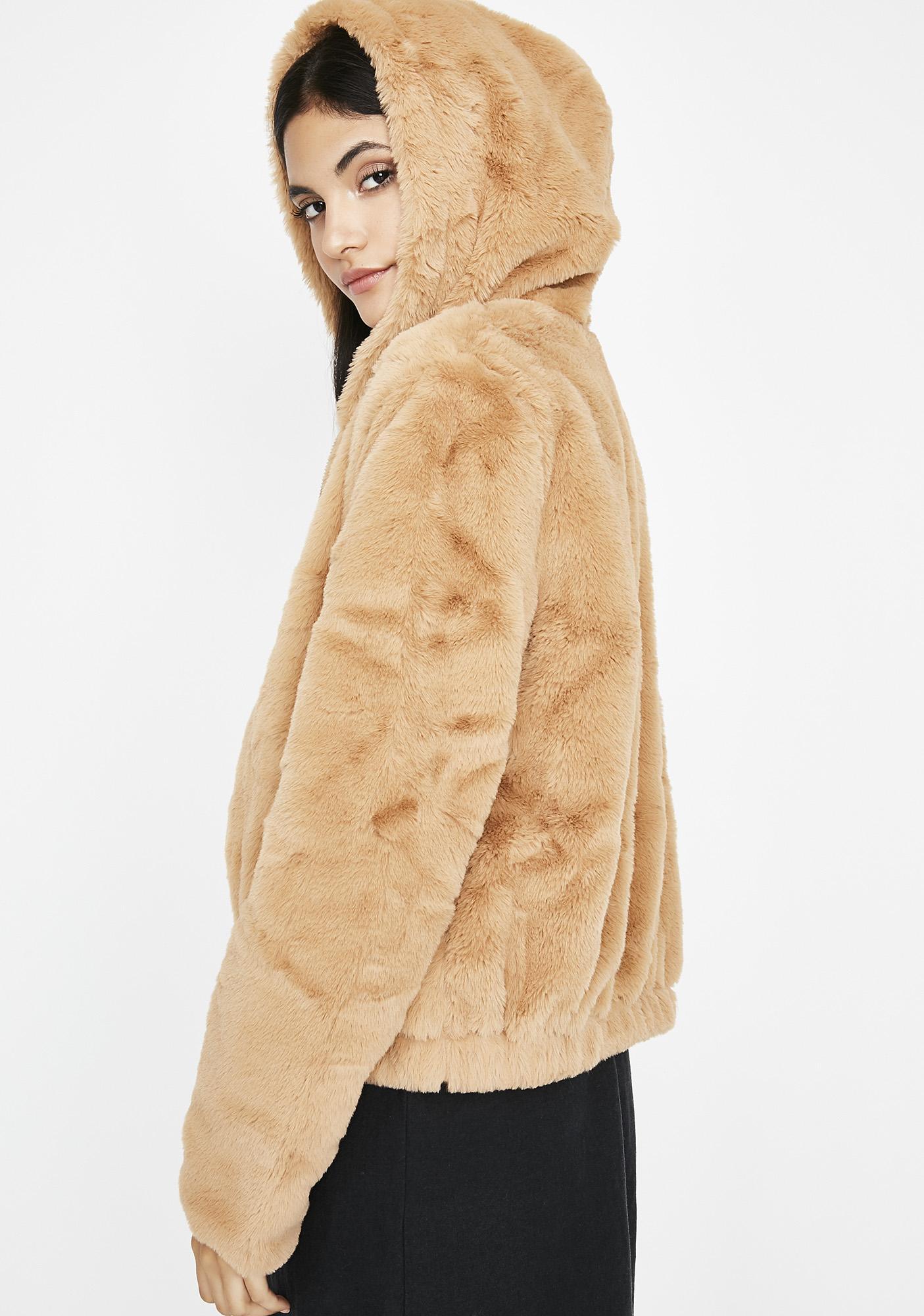 Camel Feel Me Up Fuzzy Jacket