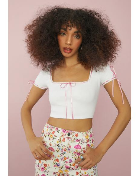 Angel Honey Honey Ribbon Tie Crop Top