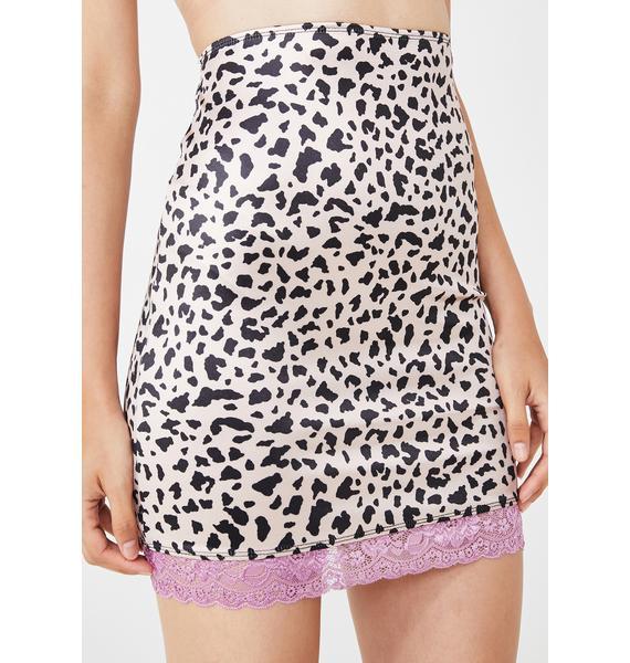 Motel Animal Satin Cherry Skirt