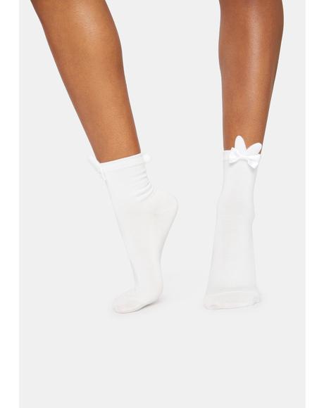 Pure Bunny Beauty Bow Crew Socks