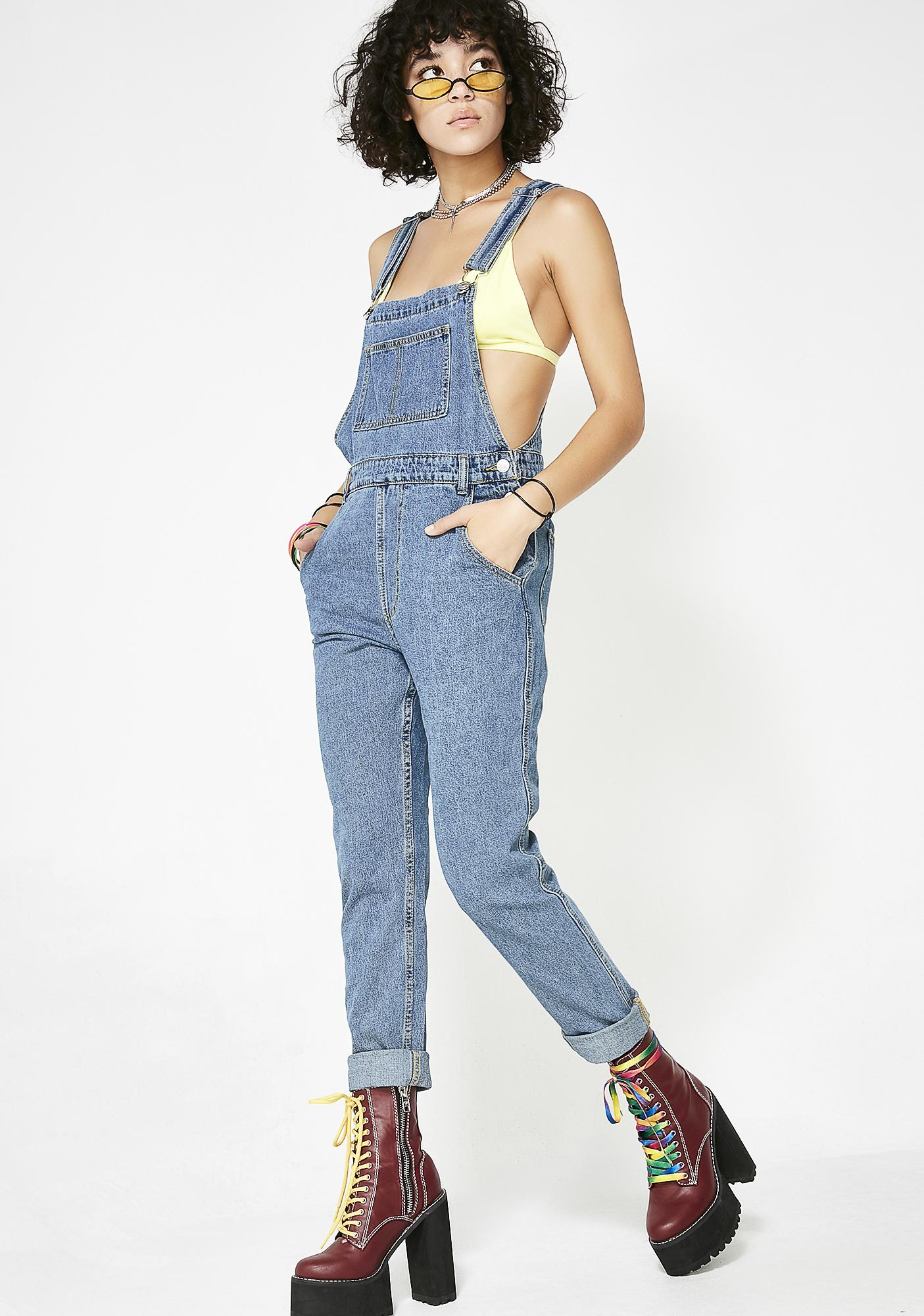 Hit Me Up Denim Overalls